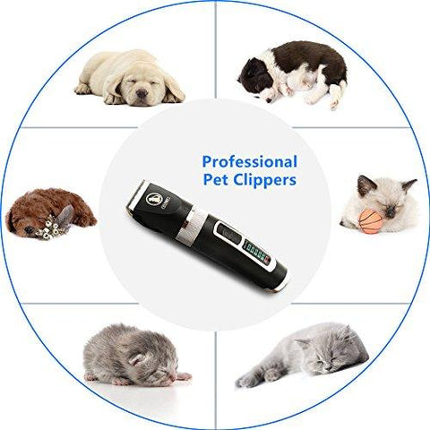 Ceenwes Dog Clippers Heavy Duty Low Noise Rechargeable Cordless Pet Clippers Professional Dog Grooming Clippers with Oil and Power Status Dog Grooming Kit with 11 Tools For Dogs Cats Other Animals