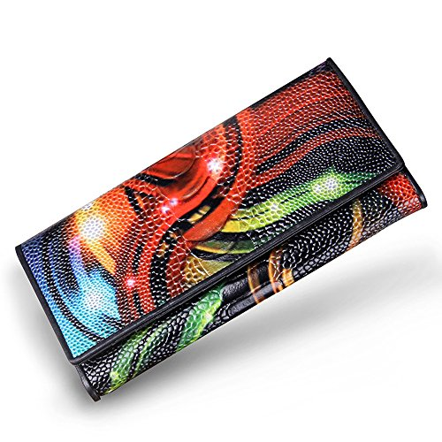 NBSAMENG Women Wallets Genuine Leather Organizer Wallet Plastic Surface Vintage