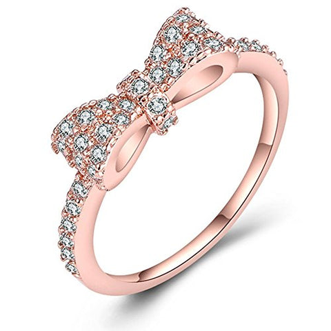 JUST N1 18K Rose Gold Plated Cute Bow Knot Design Engagement Rings for Girls Women, Size 6 to 10
