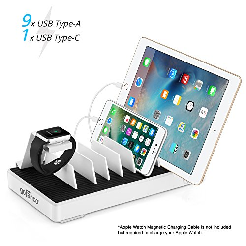 gofanco USB C Charging Station 10 port 90W with Apple Watch Stand, Type C Desktop Charging Stand Organizer Rack for phones, tablets and wearable devices, 9 USB Type A & 1 USB Type C – White