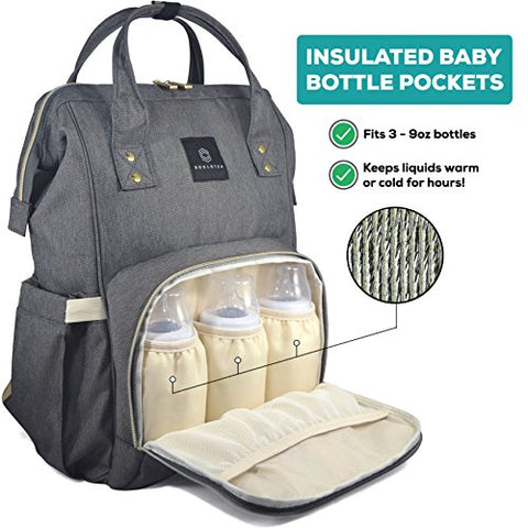 Backpack Diaper Bag - Waterproof & Multi-Function Nappy Bags for Baby Care - Large Capacity & Durable for Travel - Chic & Stylish Gray for Mom & Dad by Soulsten