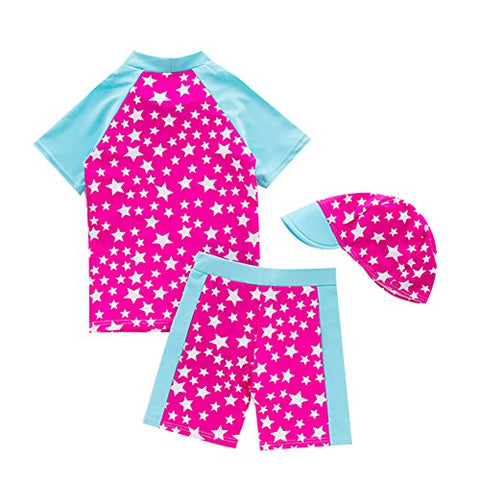 Baby Kids Boys Girls Two Pieces Star Print Rash Guard UV Sun Protective Swimsuit Swimwear With Caps (1-2 Years)