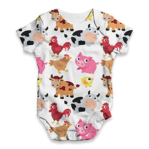 Twisted Envy Baby Unisex Farm Yard Animal ALL-OVER PRINT Bodysuit Baby Grow Baby Romper 12 - 18 Months White