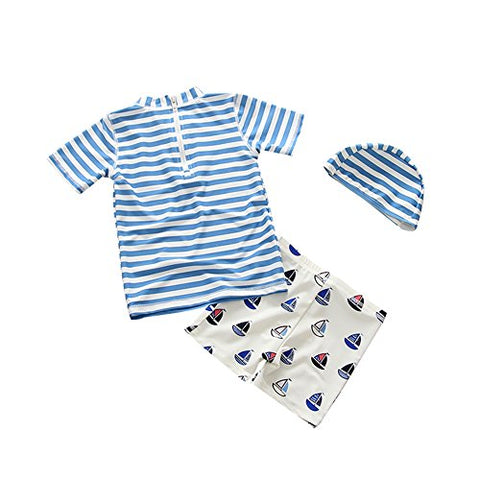Baby Toddler Boys Two Pieces Rash Guard Swimsuit Kids Sun Protective Bathing Suit With Hat UPF 50+ Blue 1-2T