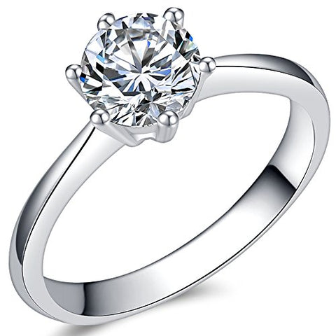 1.0 Carat Classical Stainless Steel Solitaire Engagement Ring (Silver, 8)