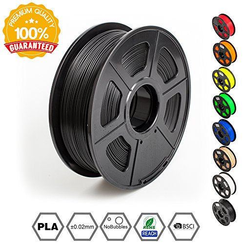 3D Printer Filament PLA Black-PLA Filament 1.75 mm SUNLU,Low Odor Dimensional Accuracy +/- 0.02 mm 3D Printing Filament,2.2 LBS (1KG) Spool 3D Printer Filament for 3D Printers & 3D Pens,Black