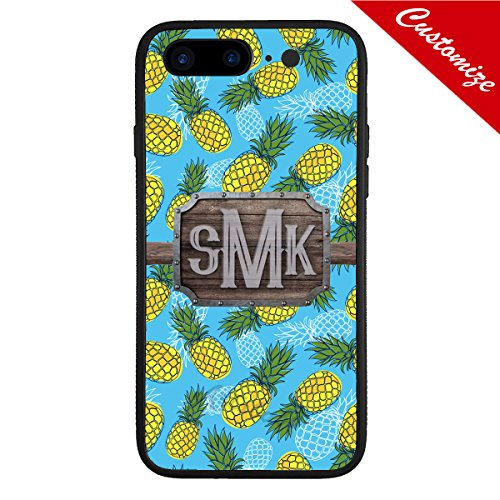 size 40 94f63 12ef6 Artsbaba Personalized iPhone 8 Plus Case Monogram Your Name iPhone8 Plus  Case 5.5 inch - Pineapple On Blue Wood