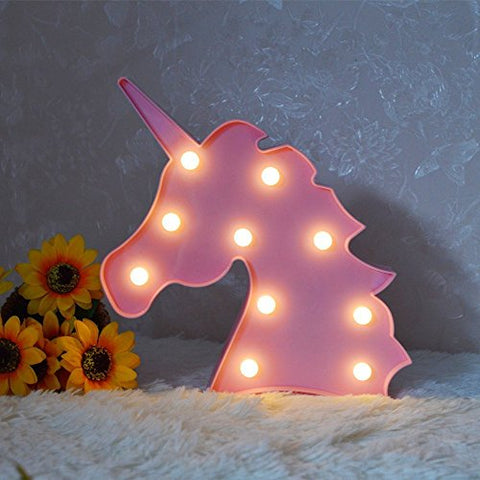 Unicorn LED Night Lamp Decorative Marquee Signs Battery Operated Light for Party Supplies -Wall Decoration for Living Room,Bedroom(Pink Unicorn Head)