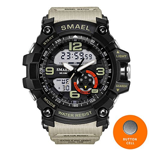 SMAEL Watch Sport Men's Wristwatch LED Digital Clock Waterproof Dual Time Wristwatch Military Watch 1617 Mens Watches Military Man's Present (Khaki)