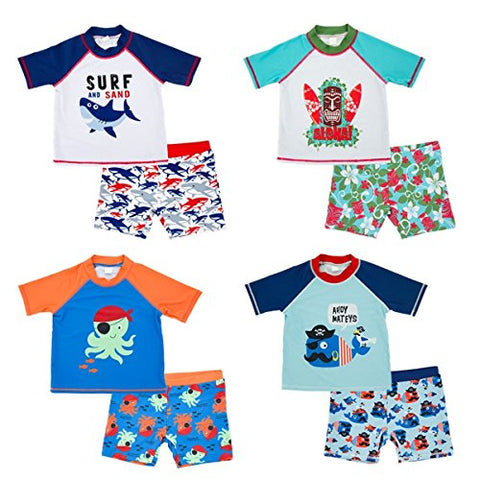 Baby Kids Boys Toddler Two Pieces Short Sleeve Cartoon Animal Quick Dry Sun Protection Swimsuit Swimwear (2-3 Years, Shark)