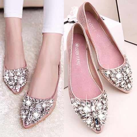 Women Flat Shoes Pointed Toe Boat Shoes Female Rhinestone Shoes Slip-Ons Shoes Hemlock (US:6.5, Gold)