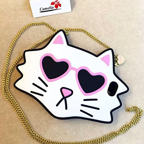 "Sunglasses Cat Case With Crossbody Chain for Apple iPhone 6 / 6s Regular 4.7"" Screen Soft Silicone Cute Cool Lovely Design For Kids Teens Girls Women(White Cat)"
