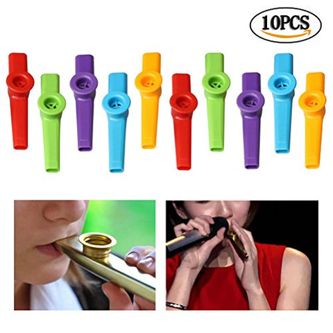 Wode Shop 10 Pcs Kazoo Musical Instruments, Different Colors Plastic Flute Diaphragms for Kids Music Lovers