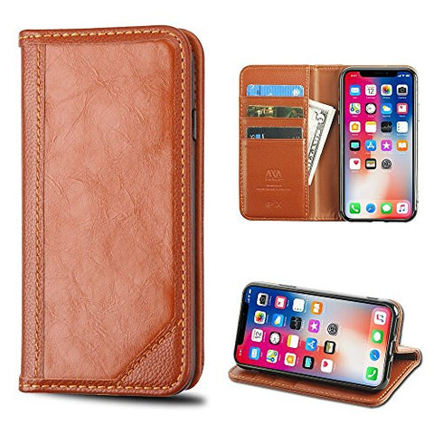 iPhone X Case, Mybat Stand Genuine leather ID/Credit Card Slot Case Cover For Apple iPhone X, Brown