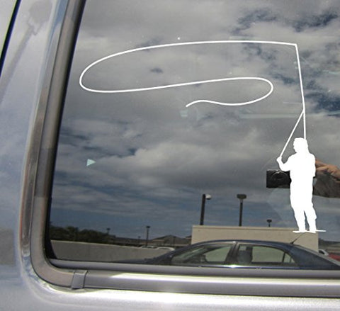 Fly Fishing Angling Fisherman Rod Reel Car - Cars Trucks Moped Auto Laptop Vinyl Decal Window Wall Sticker 04043