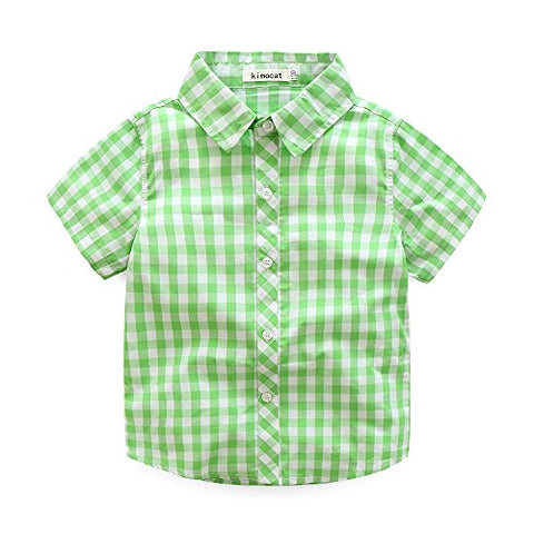 Kimocat Boys Clothing Short Sets 2Pcs Plaid Shirt Button-Down Tops and Casual Short Pants(5T, Apple Green)