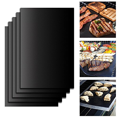 5pcs/Set Reusable BBQ Grill Mat Pad Sheet Hot Plate Portable Easy Clean Outdoor Nonstick Bakeware BBQ Accessories