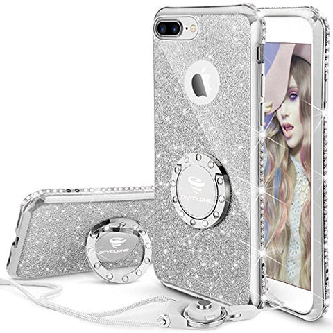 iPhone 7 Plus Case, iPhone 8 Plus Case, Glitter Cute Phone Case Girls with Kickstand, Bling Diamond Rhinestone Bumper Ring Stand Thin Soft Protective iPhone 7 Plus/ 8 Plus Case for Girl Women - Silver