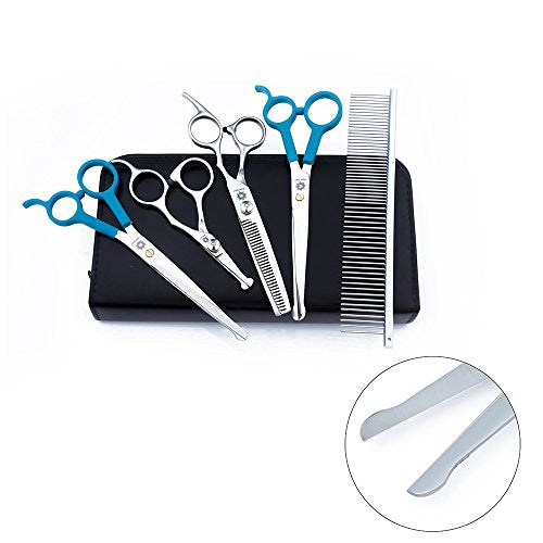 "Dream Reach 5 PCS Round-tip Stainless Steel Pet Grooming Scissors Kit For Dogs Cats Body Face Ear Nose Paw,6.0"" Straight Scissor,6.0"" Thinning Scissor,6.0"" Curved Scissor, 4.5"" Face Scissor and comb"