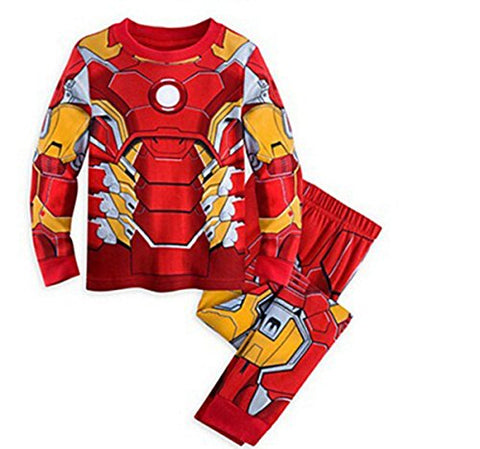 Lemonkid® [Baby] Thermal Underwear Set Children 100% Cotton Suit Pure Color Pajamas for Boy,Ironman 150cm/fit 6-7 T