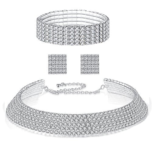 FANCY LOVE Circle Crystal Rhinestone Bridal Necklace Earrings and Bracelet Jewelry Sets vFcK6lEQ6k