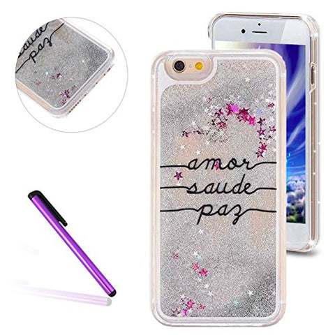 "6S Plus Case,iPhone 6 Plus Case,EMAXELER 3D Angel Girl Brilliant Luxury Bling Glitter Liquid Floating Stars Moving Hard Case for iPhone 6 Plus/6S Plus(5.5"")1 Stylus Pen Words"