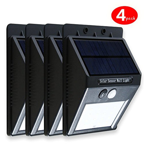 Upgraded Bright Outdoor Solar LED Light/ Wall Light/ Security Lighting 4 Pack White/black [3 Generation] (Black)
