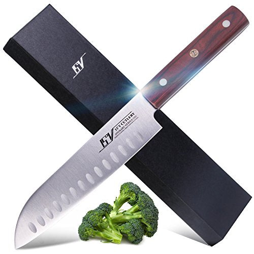 15V 7.5 inch Hollow Edge Santoku Knife - High Carbon German Stainless Steel - Full Tang Kitchen Knife with Pakkawood Handle - Onimaru Series