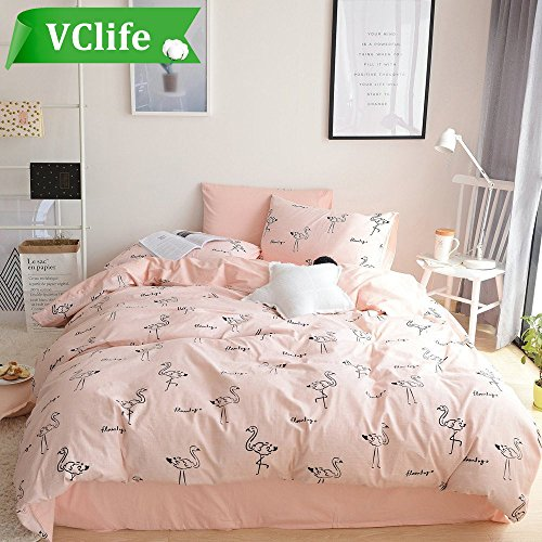 "VClife Duvet Cover Sets Queen Flamingo Printed Bedding Sets (1 Duvet Cover with 2 Pillowcases, Comforter not included) Pink Reversible Quilts Cover, Pure Cotton for All Season, Corner Ties, 90"" x 90"""