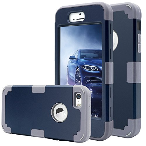 huge discount d104c a3db0 iPhone 5 Case,iPhone 5s Case,iPhone SE case,Fingic 3 in 1 Combo Slim Fit  Silicone & PC Cover Anti-Scratch Drop Protection Protective Case for Apple  ...