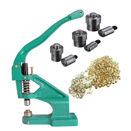 iMeshbean Grommet Machine, 3 Die (#0#2#4) Hand Press Hole Punch Machine  with 1500Pcs Golden Grommets Eyelet Hand Tool Kit for Dress Shoe Makers  Arts &