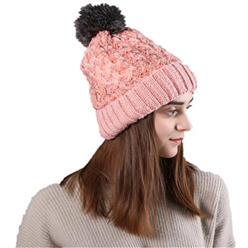 0191c115705 Leoy88 Women Winter Thick Cable Slouchy Knitted Beanie Pom Pom Cosy Snow  Ski Cap Hat (