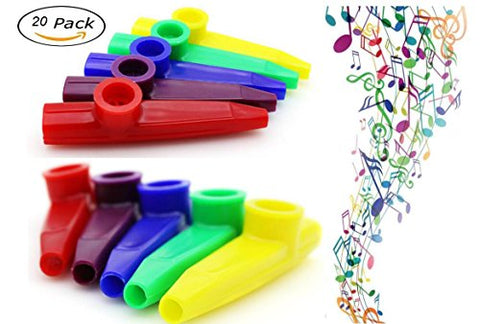20 Pack Plastic Kazoos Musical Instruments With 20pcs Kazoo Flute Diaphragms Assorted Color Party Favors Gifts Random kazoo kid 8 Colors