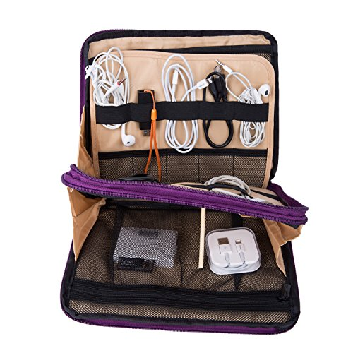 UBORSE Electronics Organizer Case for Various Accessories Cable Phone Tablet Power Bank Cosmetic Home&Travel Portable Carry on Bag, Purple