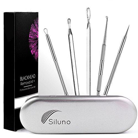 Professional Blackhead Remover Kit Set 5 - Comedone Extractor Pimple Popper Acne Blemish Spots Remover - Facial Treatment - Stainless steel - Better than Oil Cream Gel Mask - Face Skin Care