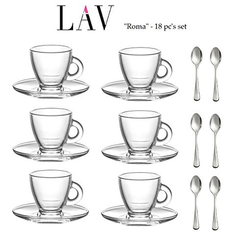 """Roma"" 3.2-Ounce. Small Demitasse Clear Glass Espresso Drinkware, Set of 6 Cups/Saucers + Set of 6 Stainless Steel 18/10 mini Espresso Spoons! Hostess, Coffee Lover/Enthusiast, Espresso."