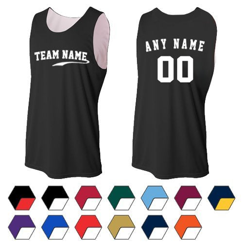 Mens, Ladies & Youth Reversible Sleeveless (CUSTOM or Blank Back) Wicking Sports Tank Jersey Top (13 Colors)
