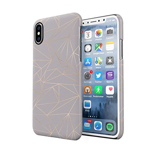Grey Texture Gold Geometric Shapes Pattern Protective Hard Plastic Snap-On  Phone Case Cover For iPhone X