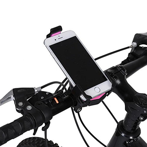 Vbestlife Bike Phone Mount, Bicycle Motorcycle Handlebar Phone Holder Handlebar Clip Stand Support with 360° Rotation for 3.6-6.2inch iPhone Android Smartphones GPS Other Devices(Pink)