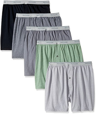 Fruit of the Loom Men's Exposed Waistband Knit Boxer (5 Pack), Assorted, Medium