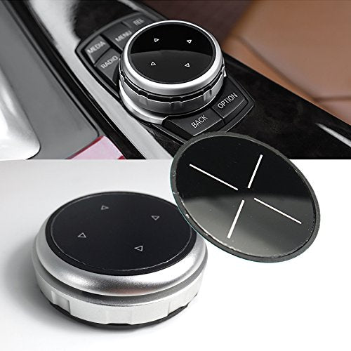 1 Set Multimedia Knob Controller Wheel Replacement Cover w/ Two Different Style Button Stickers For BMW 1 3 5 Series X1 X3 X5 X6 iDrive (Silver)