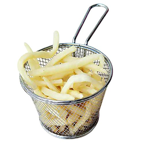 Round Fry Basket Stainless Steel Fry Basket Skimmer Ladle Present Food Basket Kitchen Cooking Tool