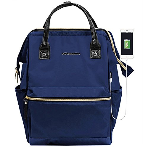 KROSER Laptop Backpack 15.6 Inch Daypack With USB Port/Water Repellent P.U. leather Nylon Briefcase Laptop Bag Business Bag Tablet for College/Travel/Business/Sports/Women/Men-Navy