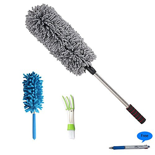 HW The Best Microfiber Multipurpose Car Cleaning Duster&Brush 3Pack / 1x Pollen Removing Exterior 1x High or corner Telescopic Interior 1x Car Air Vent, Automotive Air Conditioner Cleaner and Brush