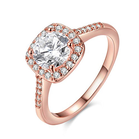 Eternal Love Women's 18K Rose/White Gold Plated CZ Crystal Engagement Rings Best Promise Rings Anniversary Wedding Bands for Lady Girl, JAR002-7-r