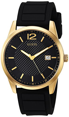 Guess Men S Stainless Steel Casual Silicone Watch Color Black Gold Tone Model U0991g2