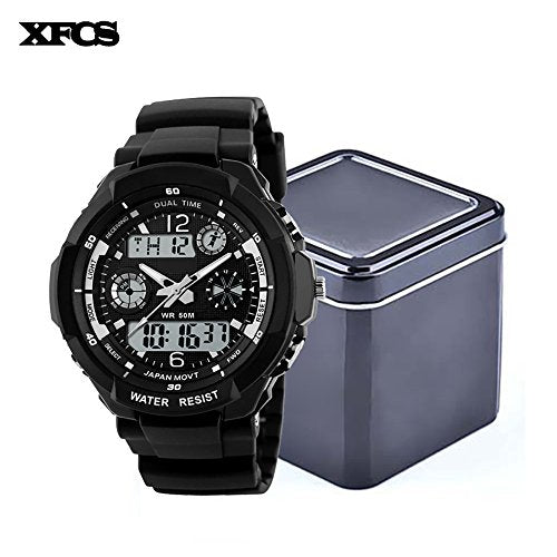 XFCS Waterproof Wrist Digital Automatic Watches For Men Digitais Watch Running Mens Man Digitales Clock(With Retail Metal Box)-Silver