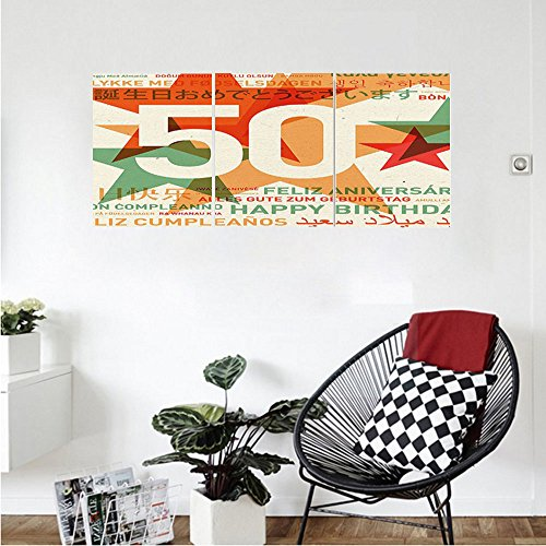 Liguo88 Custom Canvas 50th Birthday Decorations Happy In All Languages Retro Backdrop With Stars Wall