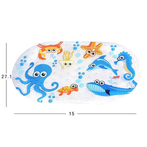 "Non-slip Baby Bath Mat - Mocollmax Toddler Anti-Bacterial Bathtub Mat, Shower Mat 27""x15"" - Durable Mildew Mold Resistant PVC - Phatalates and Lead FREE (Deep Sea Fishes)"