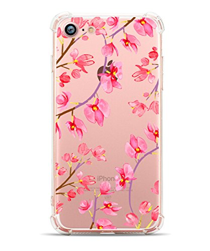 info for da1b4 b7842 iPhone 8 Case, iPhone 7 Case for Women, Hepix Floral Pattern Flower Clear  Design with TPU Bumper Protective Back Cover Case for Apple iPhone 7 and ...